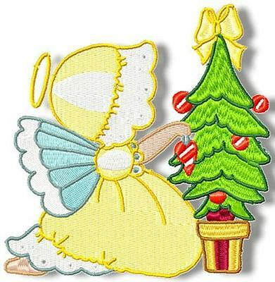 Sunbonnet Christmas Angels 12 Embroidery Designs 2 Sizes