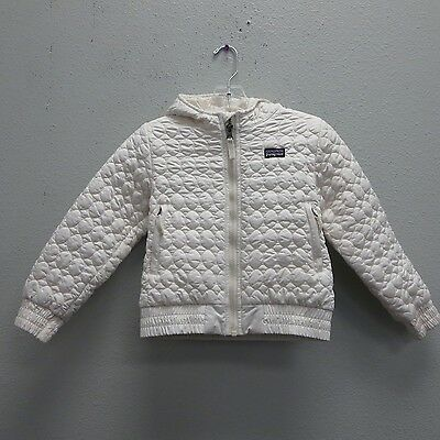 PATAGONIA Girls Ivory Quilted Deluxe Hooded Coat Parka Jacket - XS 5/6 Puffer