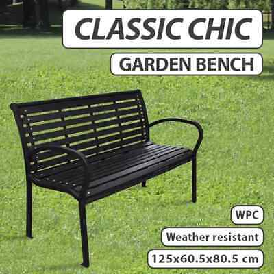 Steel Garden Bench Park Outdoor Lounge Patio Chair Seat Rust-Resistant Black