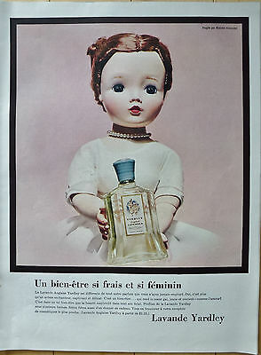 Yardley Lavande 1956 Vintage Perfume Ad Publicity in French Canada pict Doll Toy