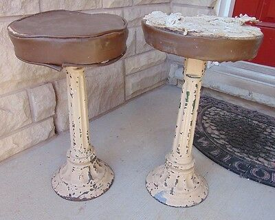 Set Of (2) Antique Cast Iron Soda Shop Swivel Bar Stools