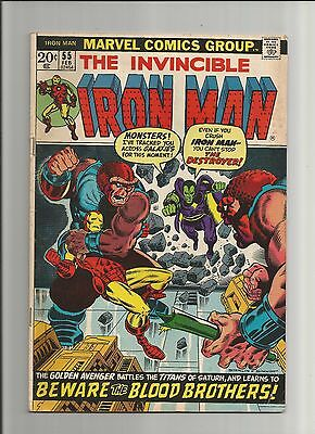 Invincible Iron Man Comic Book #55, Marvel 1972, 1st App of Thanos and Drax