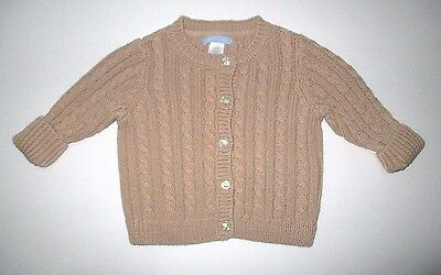 Infant Boys Lands' End Camel Beige Cable Knit Button Down Cardigan Sweater 9-12M