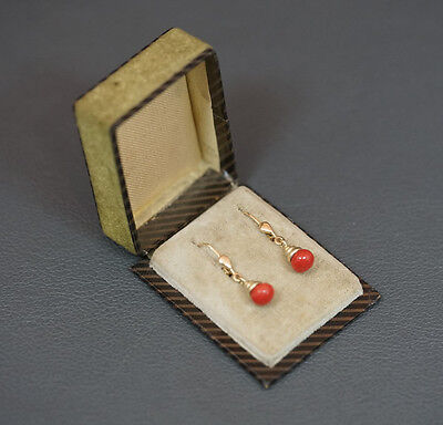 Fine Antique Art Deco Mediterranean Natural Red Coral 14K Gold Dangle Earrings