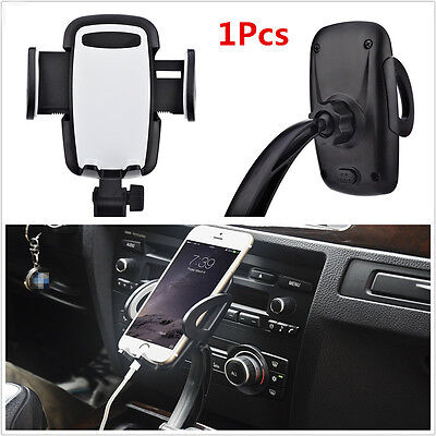 1xBlack Dual USB Car Charger Holder Mount With Cigarette Chargers For Cell Phone