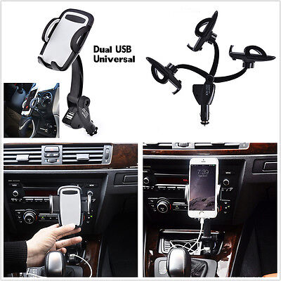 New 2USB Car Charger Holder Mount With Cigarette Lighter Chargers for Cell Phone