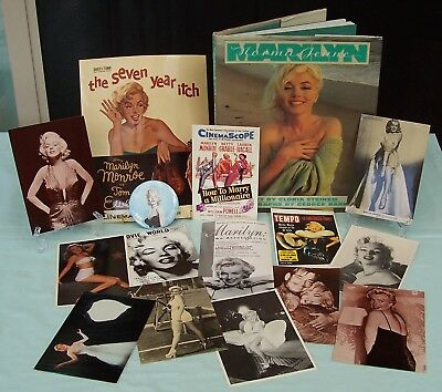 MARILYN Norma Jeane Book  c1987 Plus Badge & 14 Postcards Mixed Monroe Items