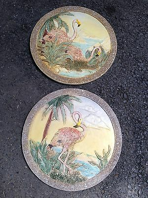 PINK FLAMINGO FLAMINGOS stepping stones wall ART plaque 3D Mold Flamingoes Round