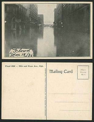FLOOD 1936, 10th and Penn Avenue, Pgh Pittsburgh Old Postcard Disaster Disasters
