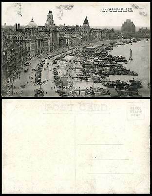 China Old Postcard Shanghai The Bund from South, Clock Tower, Street Scene, TRAM