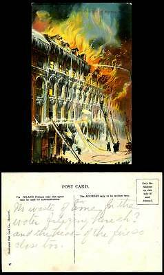 Firefighters Firefighting in Winter, Fire Brigade, Canada Montreal Old Postcard