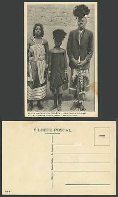 Portuguese East Africa PEA, Native Tribes Man Woman Girl Mozambique Old Postcard
