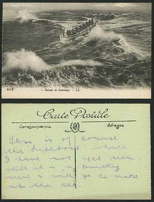 Lifeboat Life Boat Bateau de Sauvetage in Rough Sea Storm L.L. 2052 Old Postcard