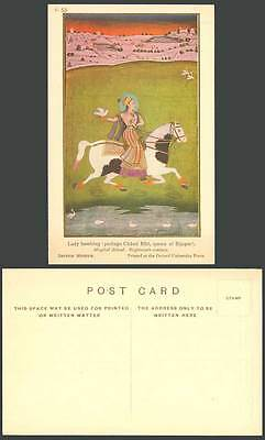 India, Lady Hawking Chand Bibi Queen of Bijapur Mughal School Horse Old Postcard