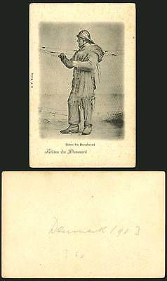 Denmark 1903 Postcard FISHERMAN Fishing Net, Skovshoved