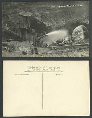 Perak, Hydraulic Monitor at Work, Miner Mining, Tin Mine Old Real Photo Postcard