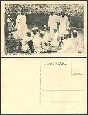 Zanzibar Old Postcard Native Men at The Game of Cards Natives Playing Card Games