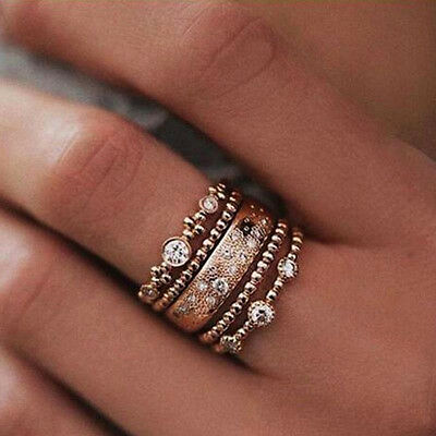 5Pcs/Set Crystal Rose Gold Stackable Ring 5 Sparkly Rings Vintage Boho Jewelry