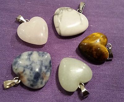 Wow Bargain New Bulk Lot - 5 Mixed Gemstone Heart Pendants - Free Post