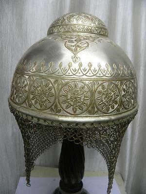 Rare Sikh Indian Warrior Helmet Silver Plated  Bump Top Documented  War Catlog