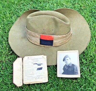 Ww2 British Army Slouch Hat, Royal Artillery, Burma + Photo & Part Service Book.