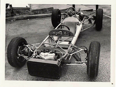 Single Seater Racing Car Missing Body, Rolling Chassis, Period Photograph.