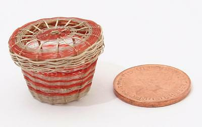 Antique Chilean Chile Linares Tiny Miniature Fibrous Woven Root Basket with Lid