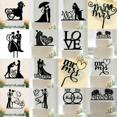 15Styles Silhouette Bride &Groom Wedding Cake Topper Gift Acrylic Cupcake Stand