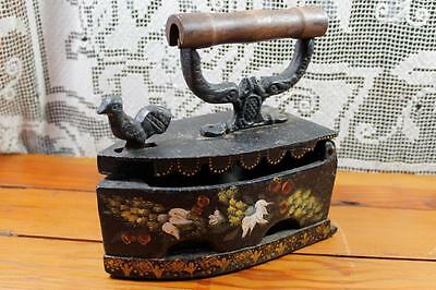 Antique Sad Iron, Vintage Coal Iron with Rooster Latch, Wooden Handle, Folk Art