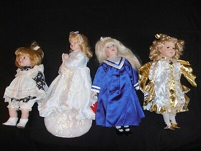 Porcelain dolls religious theme angel Kneeling praying bible set of 4 vintage