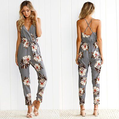 Women V neck Clubwear Floral Playsuit Bodycon Party Jumpsuit&Romper Long Trouser