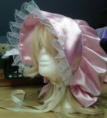 victorian edwardian adult baby fancy dress pink satin bonnet cap hat sissy maid,