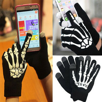 Unisex Touch Screen Gloves For Smart Phone Tablet Full Finger Mittens Skull Hot