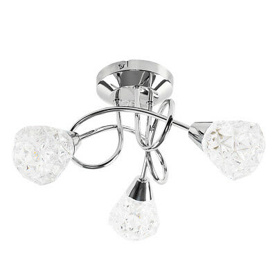 Modern Chrome 3 Way Cross Over Ceiling Light Fitting Crystal Style Lamp Shades