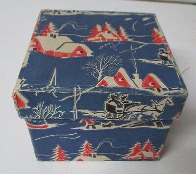 Vintage Christmas  Box - Blue Winter Scene