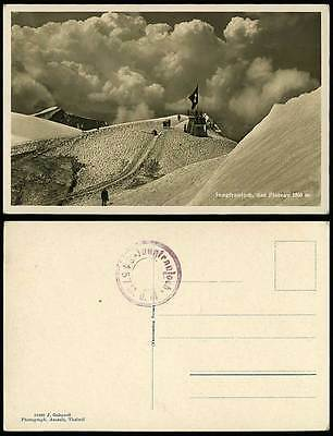 Switzerland Jungfraujoch das Plateau 3560m Swiss Flag Mt Old Real Photo Postcard