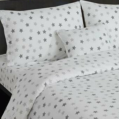 Grey and White Stars Toddler Fitted Sheet Nursey Bedroom