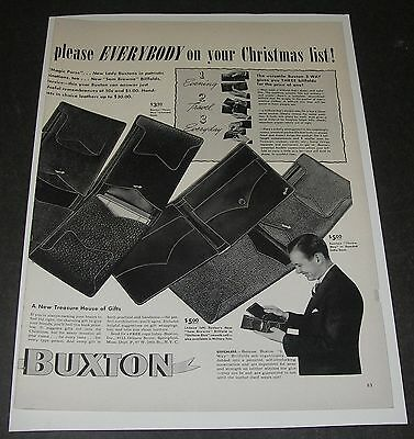 Print Ad 1941 Buxton Billfold Wallet Sam Browne Service Christmas Springfield MA