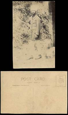 India Old Real Photo Postcard A Native Hindu Man, Indian Soldier Dog Ethnic Life