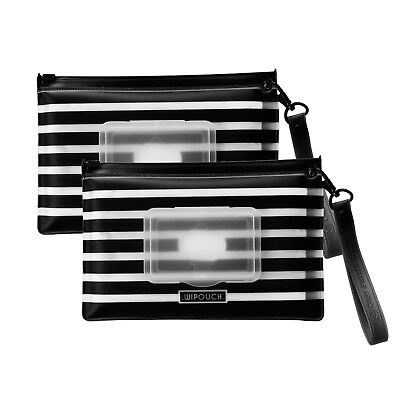 WIPOUCH™ Monochrome Stripes Refillable Wet Wipes Pouch 2pcs WIPOUCH30 Express