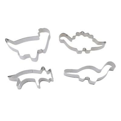 4pcs Stainless Steel Dinosaur Animal Cutter Cookies Pastry Cake Fondant Mould LC