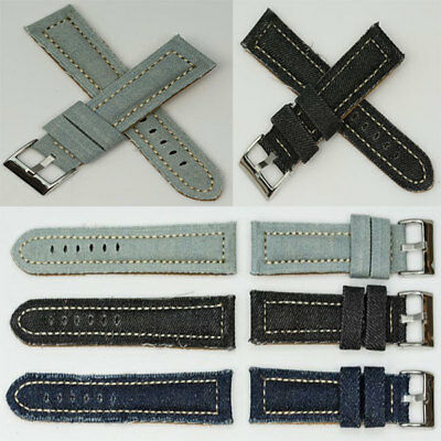 Quality Canvas Denim Watch Band Strap Pre-V Buckle padded TOUGH cotton upgrade