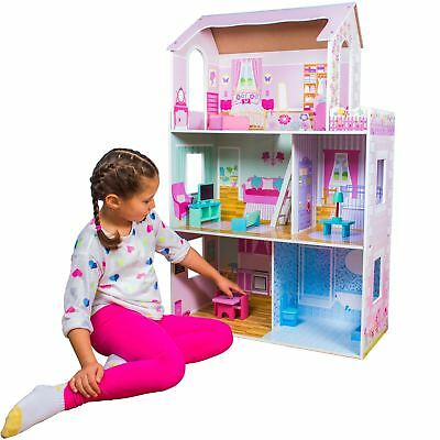 Childrens Luxury Girls Wooden Toy Dolls House with 15 piece Accessory Set New