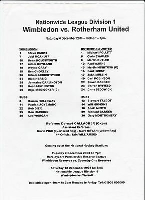 4 Rotherham United/reserves Home/away Football Programmes/teamsheets 1998-2008