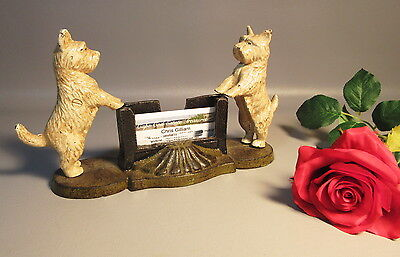 Antique 19c Cast Iron Westies Dogs Business Card Holder West Highland Terriers