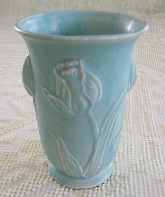 "1940's McCoy Pottery Matte Turquoise Green Raised Relief Tulip 8.25"" Vase"