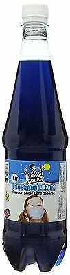 Snow cone syrup Blue Bubblegum Flavour Topping Sauce  1 Litre By SnowyCones™