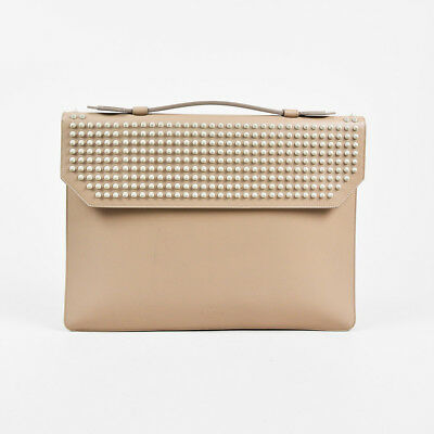 "Christian Louboutin Beige Leather Studded ""Alexis"" Document Holder"