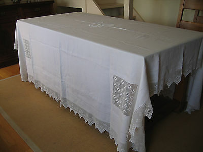 Large Antique Linen Tablecloth / Bedspread Crochet Embroiderd R Motif 2.4m sq
