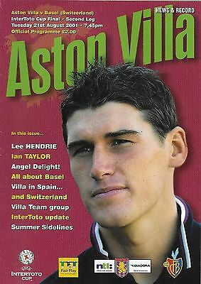 Final Programme>ASTON VILLA v FC BASEL Aug 2001 InterToto Cup Final